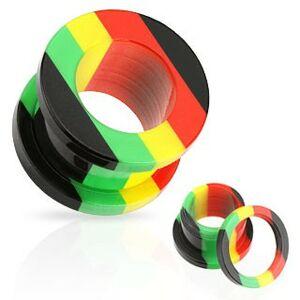 Akrylový tunel do ucha, pruhy červenej, žltej, zelenej a čiernej farby - Hrúbka: 16  mm