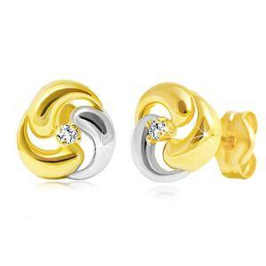 Briliantové náušnice zo 14K zlata - dvojfarebný trojlístok s čírym diamantom