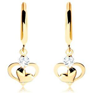 Briliantové zlaté náušnice 585 - lesklý kruh s visiacim diamantom a srdiečkami