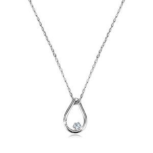 Briliantový náhrdelník z bieleho 14K zlata - kontúra slzy s diamantom