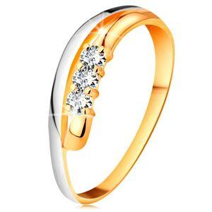 Briliantový prsteň v 14K zlate, zvlnené dvojfarebné línie ramien, tri číre diamanty - Veľkosť: 52 mm