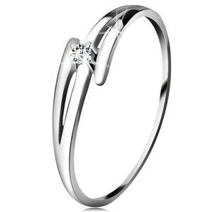 Briliantový prsteň z bieleho 14K zlata - rozdelené zvlnené ramená, číry diamant - Veľkosť: 60 mm
