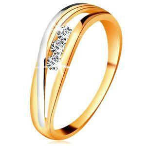 Briliantový prsteň zo 14K zlata, zvlnené dvojfarebné línie ramien, tri číre diamanty - Veľkosť: 59 mm