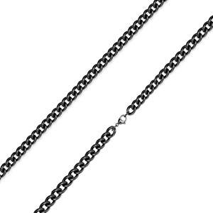 Čierna retiazka z 316L ocele - zatočené okrúhle očká, PVD úprava, 3 mm - Dĺžka: 435 mm