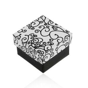 Čierno-biela krabička na náušnice, prívesok alebo prsteň, vzor špirál