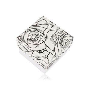 Čierno-biela krabička na prsteň alebo náušnice - motív rozkvitnutých ruží