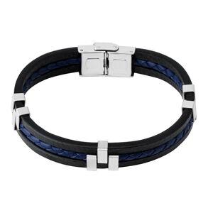Čierny kožený náramok - modrý pletenec v strede, kovové posuvné články