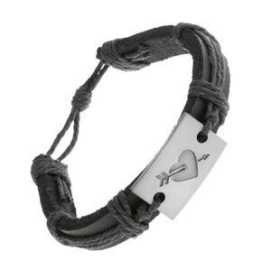 Čierny kožený náramok, obtočené šnúrky, obdĺžnik so srdcom a šípom