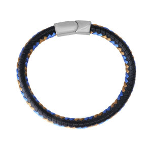 Čierny kožený náramok - zapletené hnedé a modré šnúrky, zásuvné zapínanie