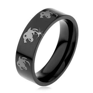 Čierny oceľový prsteň, potlač vlkov striebornej farby, 6 mm - Veľkosť: 57 mm