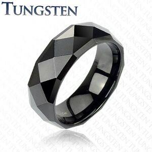 Čierny tungstenový prsteň s brúsenými kosoštvorcami, 6 mm - Veľkosť: 54 mm