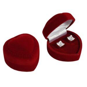 Darčeková krabička na náušnice - bordové zamatové srdce