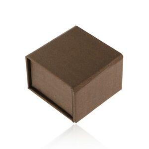 Darčeková krabička na prsteň alebo náušnice, hnedá s perleťovým leskom, magnet