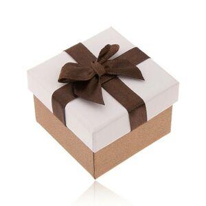 Darčeková krabička na prsteň, bronzová a biela farba, hnedá mašlička