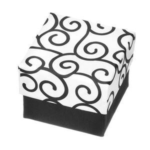 Darčeková krabička na prsteň - čiernobiela kocka s ornamentami