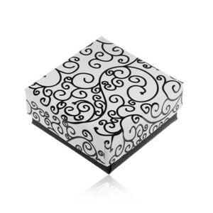 Darčeková krabička v čierno-bielom prevedení, potlač špirálovitých ornamentov