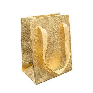 Darčeková taštička, lesklý mriežkovaný povrch zlatej farby, stužky