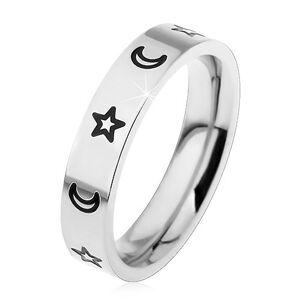 Detský prsteň z chirurgickej ocele, gravírované kontúry hviezd a mesiacov - Veľkosť: 51 mm