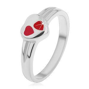 Detský prsteň z chirurgickej ocele, strieborná farba, srdce s červenou glazúrou - Veľkosť: 44 mm