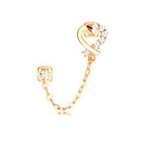 Diamantová náušnica zo žltého 14K zlata, kontúra srdca, číre brilianty a retiazka