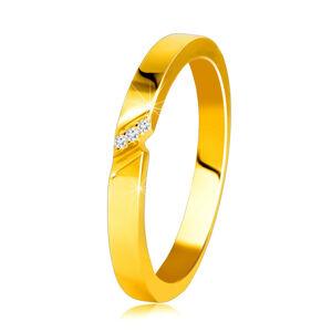 Diamantová obrúčka v 14K žltom zlate - prsteň s jemným zárezom, číre brilianty - Veľkosť: 52 mm
