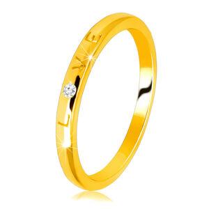 """Diamantová obrúčka v žltom 14K zlate - nápis """"LOVE"""" s briliantom, hladký povrch, 1,5 mm  - Veľkosť: 49 mm"""