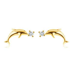 Diamantové náušnice zo 14K žltého zlata - hladký lesklý delfín, okrúhly briliant