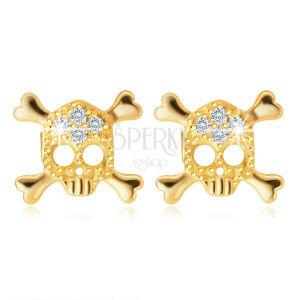 Diamantové náušnice zo žltého 585 zlata - lebka zdobená briliantmi, puzety