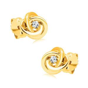 Diamantové náušnice zo žltého zlata 585 - uzol z troch prstencov, číry briliant