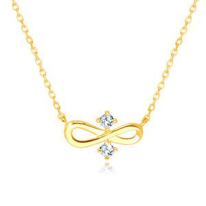 """Diamantový náhrdelník 585 v žltom zlate - symbol """"INFINITY"""", dva číre brilianty"""