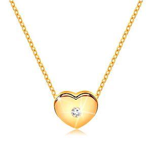 Diamantový náhrdelník, žlté 14K zlato - srdiečko s čírym briliantom, tenká retiazka