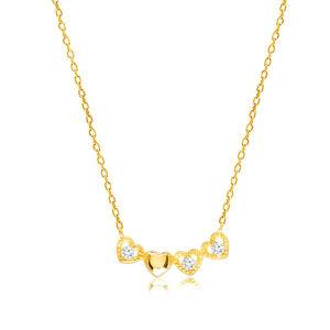 Diamantový náhrdelník zo žltého 14K zlata - pospájané srdiečka, číre brilianty