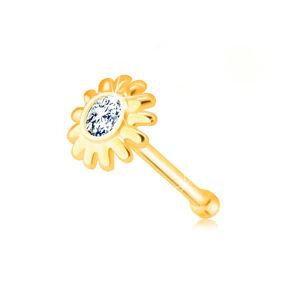 Diamantový piercing do nosa z 375 žltého zlata - kvietok s briliantom v čírom odtieni