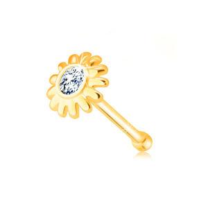 Diamantový piercing do nosa z 585 žltého zlata - kvietok s briliantom v čírom odtieni