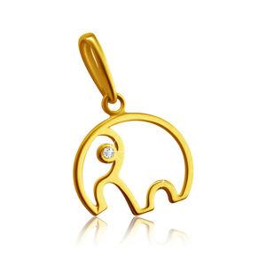 Diamantový prívesok zo 14K žltého zlata - obrys sloníka s chobotom, číry briliant