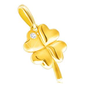 Diamantový prívesok zo žltého 14K zlata - štvorlístok s ligotavým briliantom