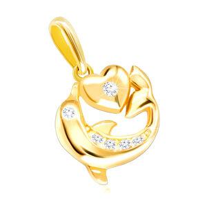 Diamantový prívesok zo žltého 585 zlata - delfín s plutvou, hladké srdiečko, číre brilianty