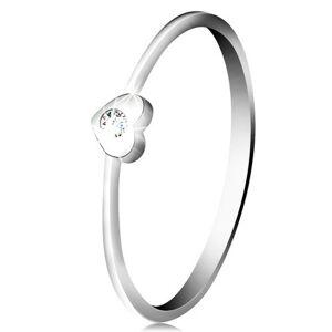 Diamantový prsteň z bieleho 14K zlata - srdiečko s čírym briliantom - Veľkosť: 57 mm