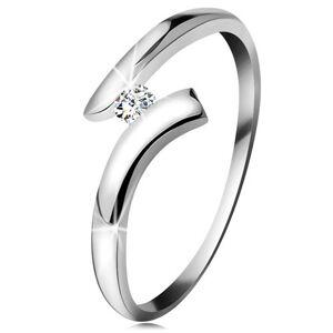 Diamantový prsteň z bieleho 14K zlata - žiarivý číry briliant, lesklé zahnuté ramená - Veľkosť: 51 mm