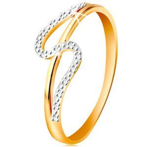 Diamantový prsteň zo 14K zlata, rovné a zvlnené rameno, drobné číre diamanty - Veľkosť: 54 mm