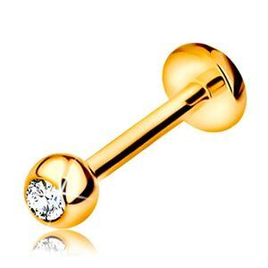 Diamantový zlatý 585 piercing do pery a brady - gulička s briliantom, 8 mm