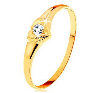Diamantový zlatý prsteň 585 - ligotavé srdiečko so vsadeným okrúhlym briliantom - Veľkosť: 49 mm