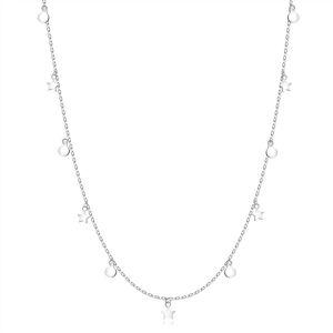 Dlhý strieborný 925 náhrdelník - tenká retiazka, hviezdičky, kolieska, perový krúžok