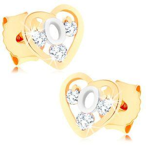 Dvojfarebné zlaté náušnice 375 - srdcová kontúra, slučka z bieleho zlata, zirkóny