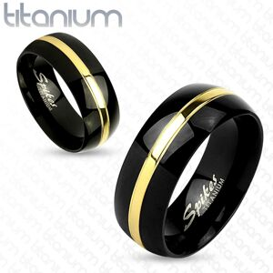 Dvojfarebný prsteň z titánu, čierny oblý povrch, pás zlatej farby, 6 mm - Veľkosť: 52 mm