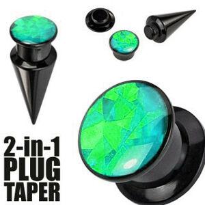 Expander a plug v čiernom farebnom odtieni - čierna a zelená skrutka - Hrúbka: 3 mm