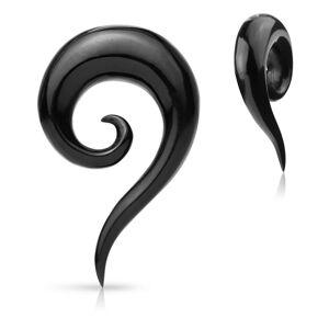 Expander do ucha z organického materiálu - čierna hladká zatočená špirála - Hrúbka: 10 mm