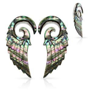 Expandery z organického materiálu, špirála s anjelským krídlom, mušľa Paua - Hrúbka: 5 mm