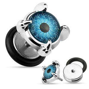 Fake oceľový plug do ucha - modré oko v pazúroch, koliesko s gumičkou