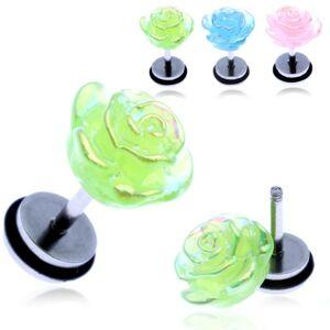 Fake piercing do ucha z ocele - farebná dúhová ruža - Farba piercing: Zelená
